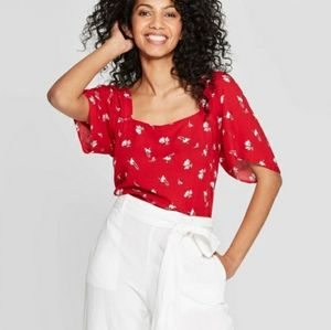 Floral Square Neck Short Sleeve Casual Blouse Top